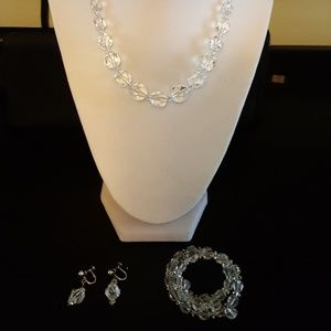 Cut glass necklace & earrings SET with bracelet